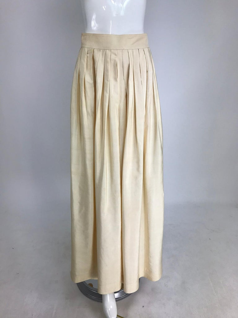 Yves Saint Laurent natural raw silk top and maxi skirt 1970s For Sale 7