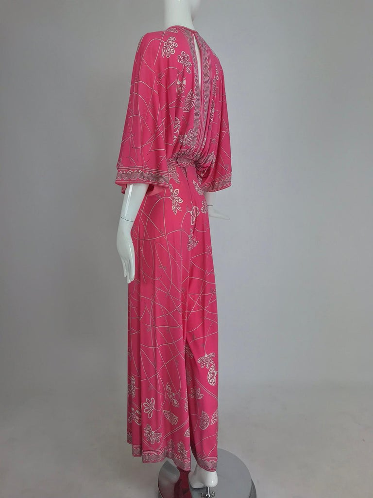 Pink Emilio Pucci silk jersey plunge top and palazzo trousers, 1970s For Sale