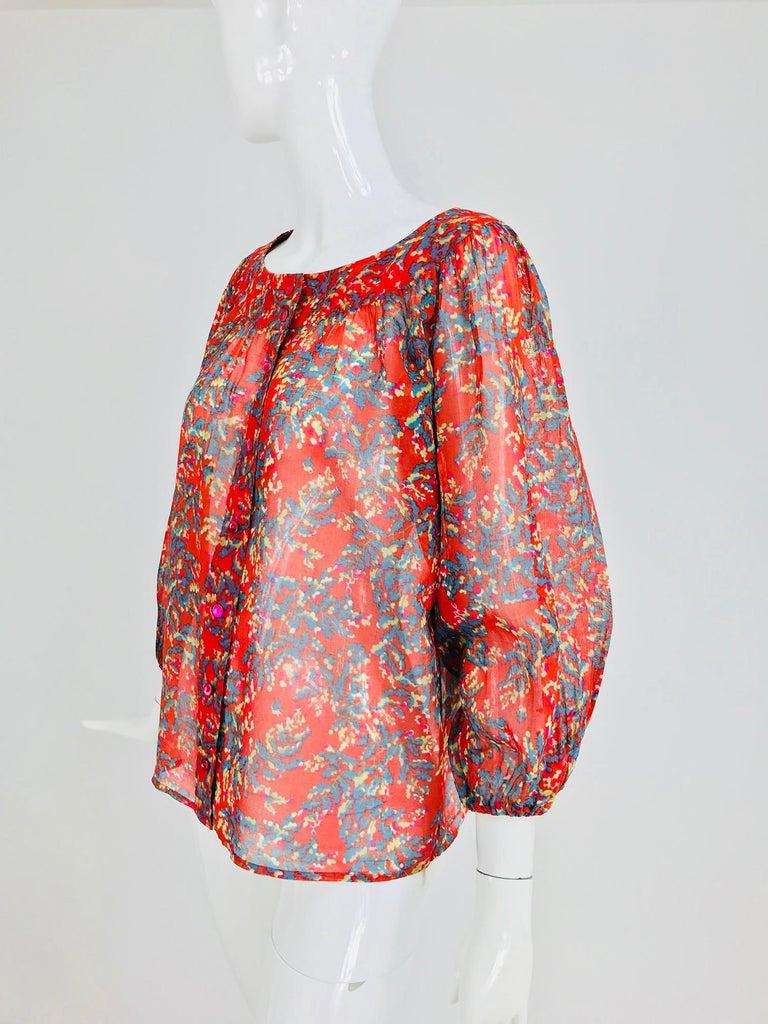 Pink Yves Saint Laurent sheer floral cotton peasant blouse 1970s For Sale