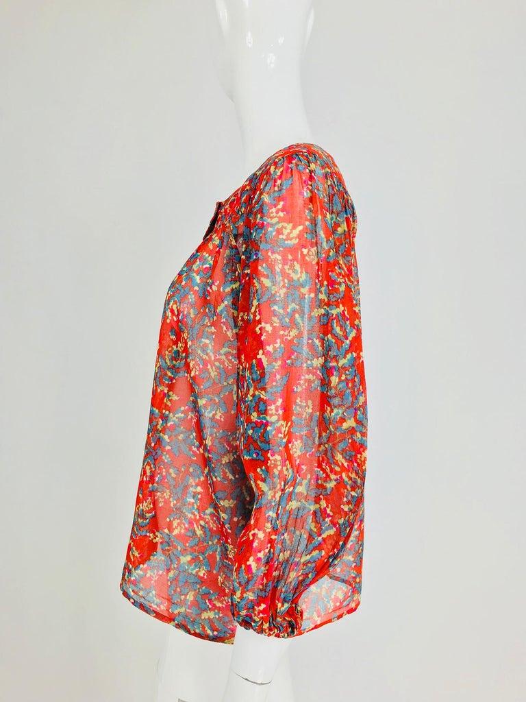 Women's Yves Saint Laurent sheer floral cotton peasant blouse 1970s For Sale