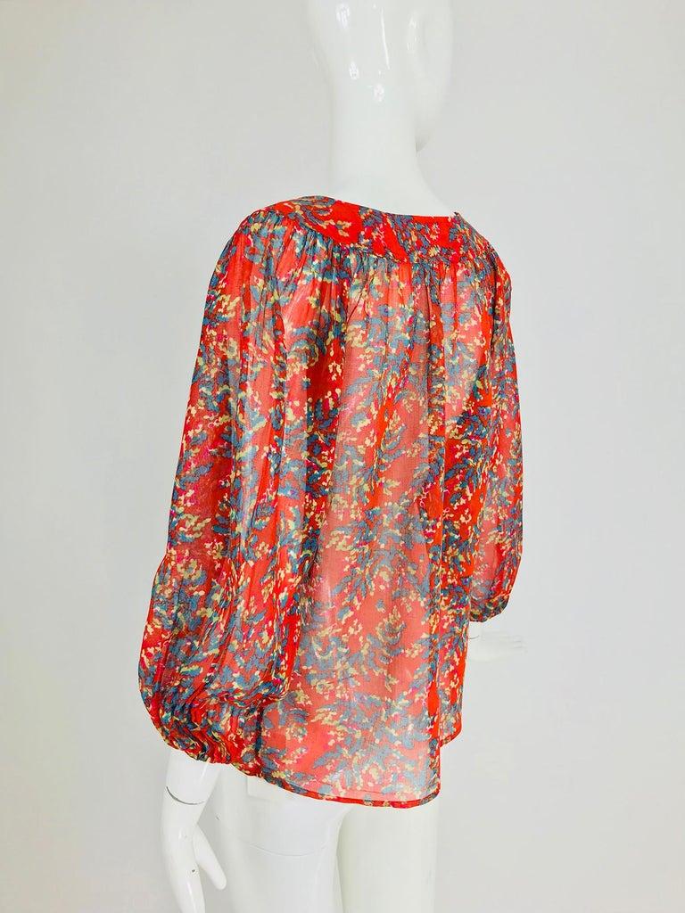 Yves Saint Laurent sheer floral cotton peasant blouse 1970s For Sale 1
