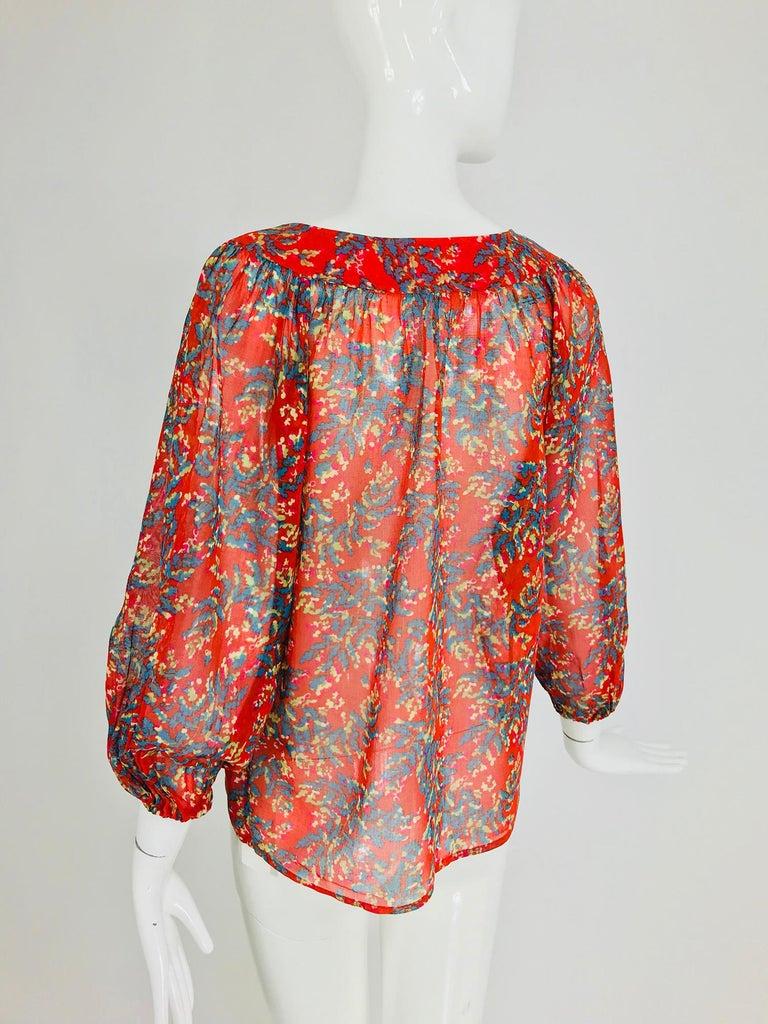 Yves Saint Laurent sheer floral cotton peasant blouse 1970s For Sale 2