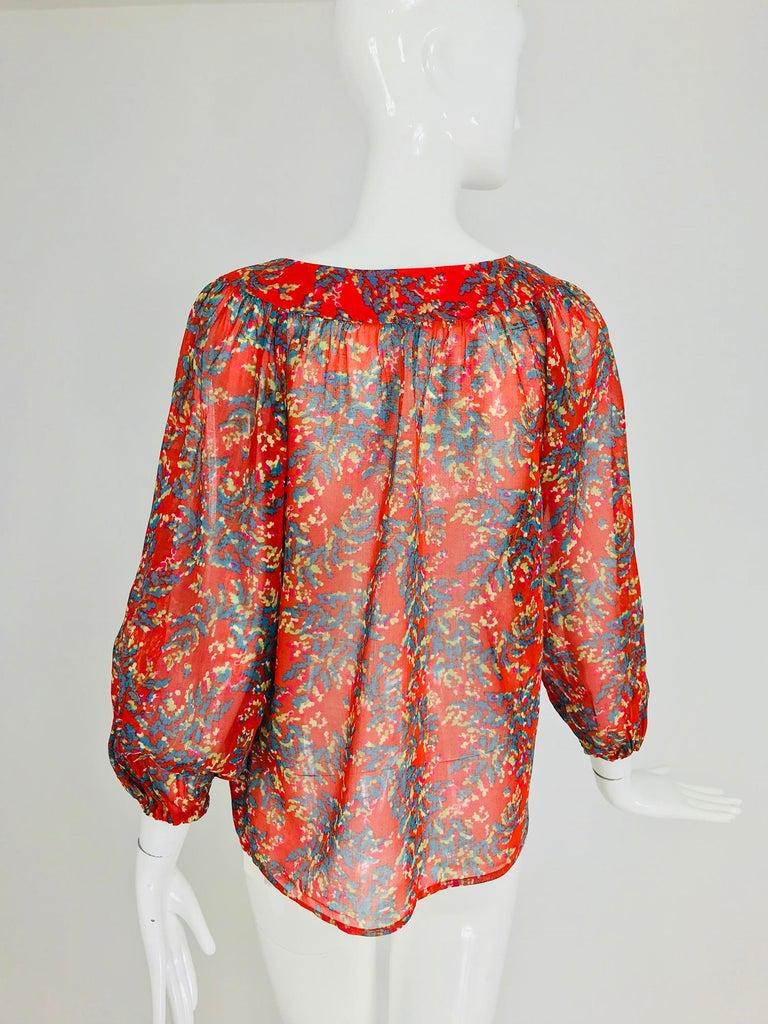 Yves Saint Laurent sheer floral cotton peasant blouse 1970s For Sale 3