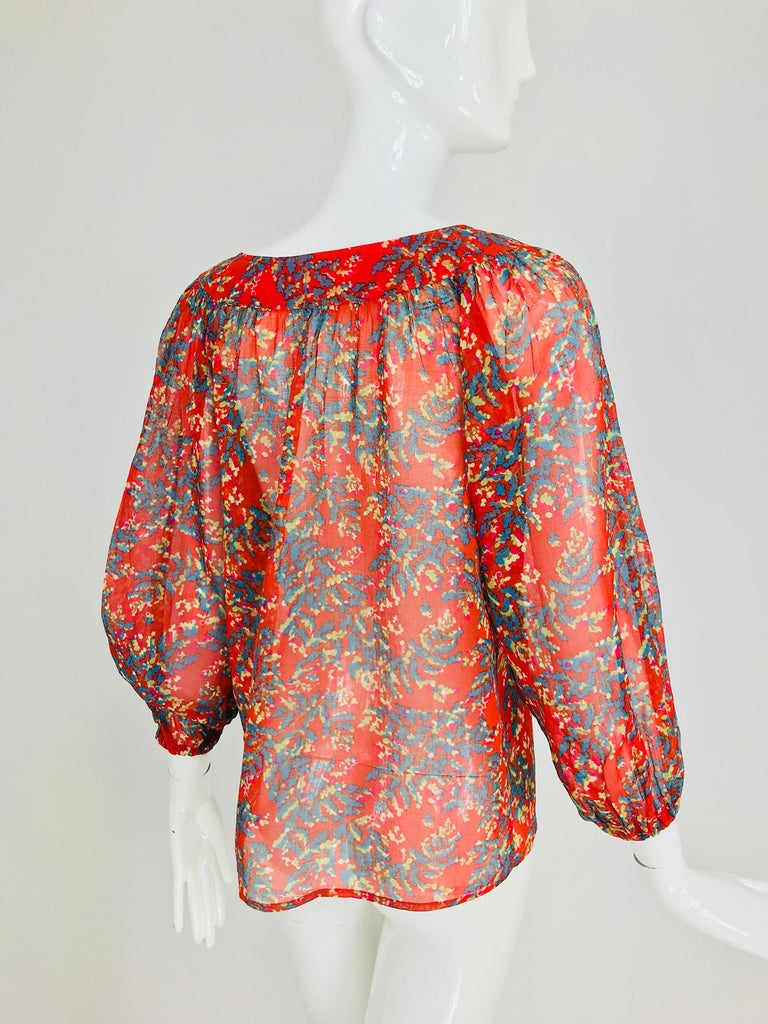 Yves Saint Laurent sheer floral cotton peasant blouse 1970s For Sale 4