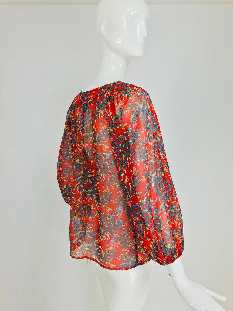 Yves Saint Laurent sheer floral cotton peasant blouse 1970s For Sale 5