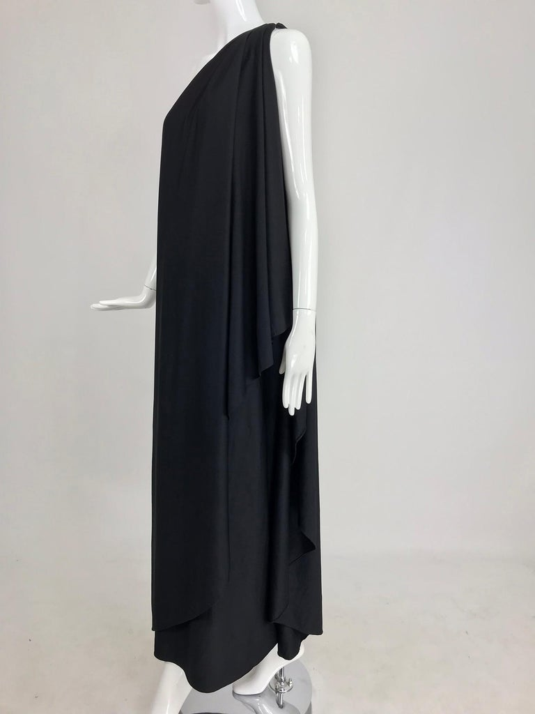 Black Halston one shoulder black jersey draped maxi dress  For Sale