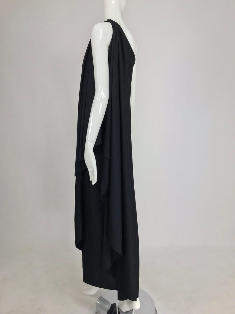 Women's Halston one shoulder black jersey draped maxi dress  For Sale