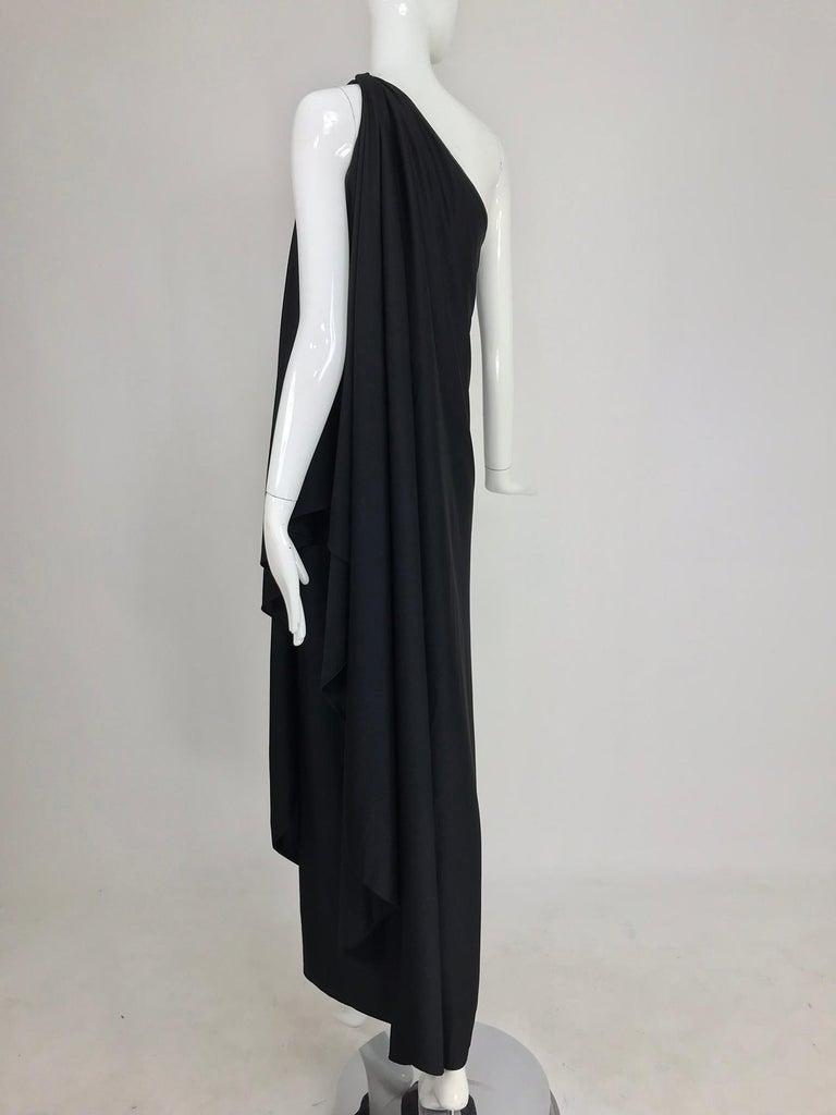 Halston one shoulder black jersey draped maxi dress  For Sale 1