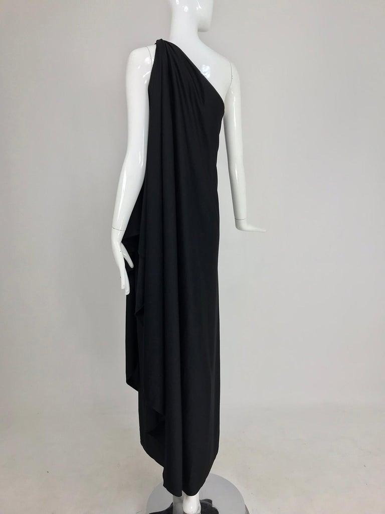 Halston one shoulder black jersey draped maxi dress  For Sale 2