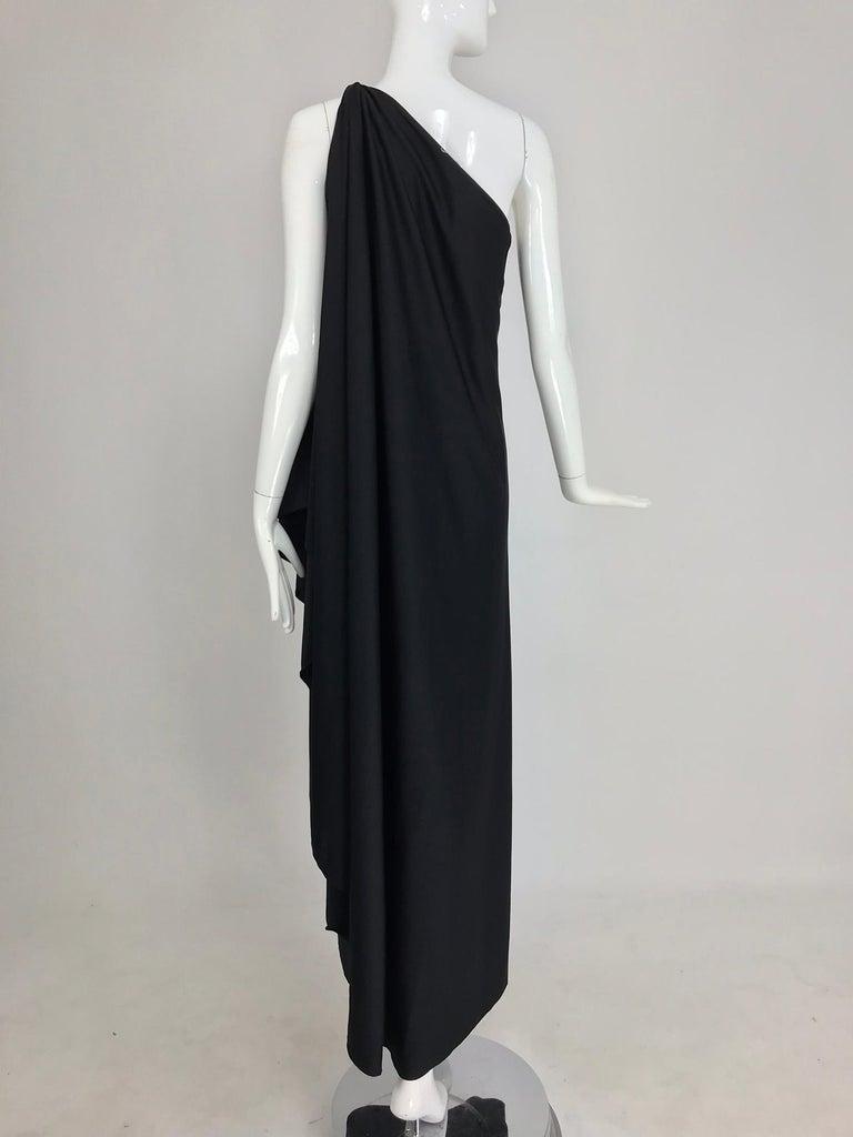 Halston one shoulder black jersey draped maxi dress  For Sale 3