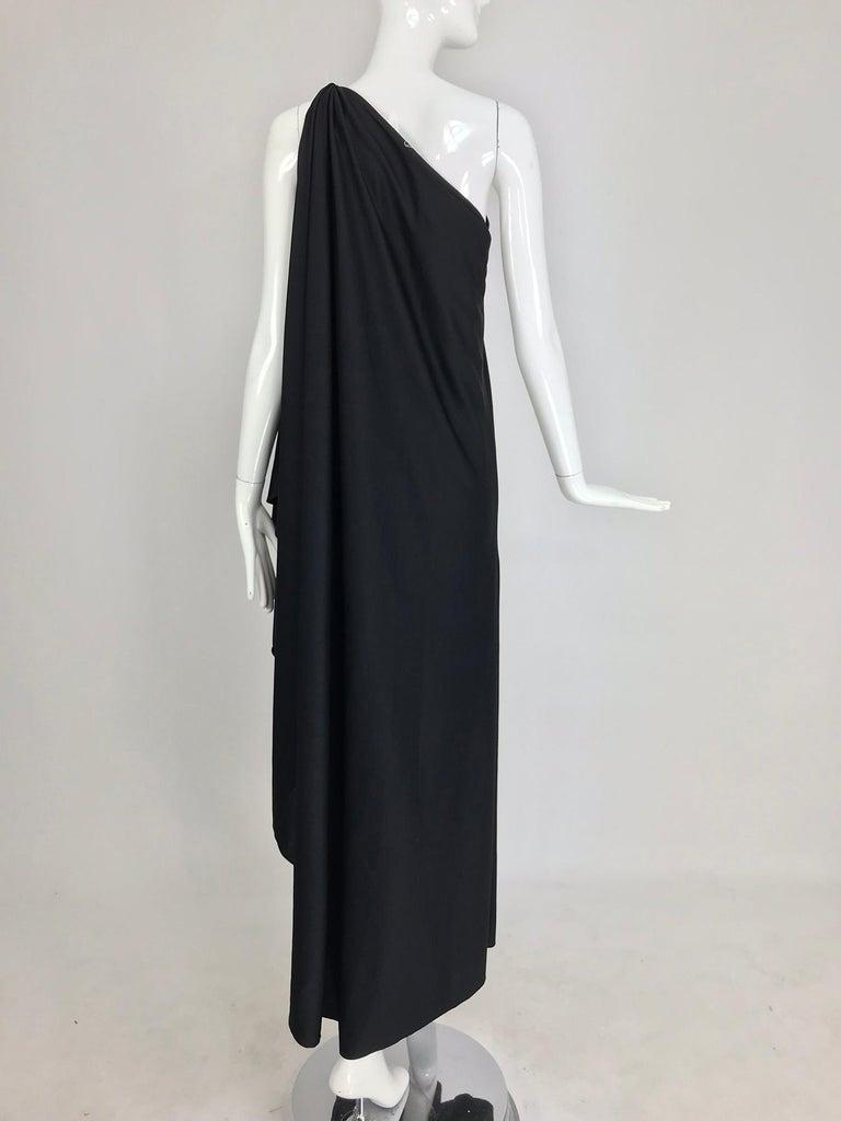 Halston one shoulder black jersey draped maxi dress  For Sale 4