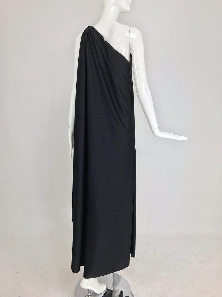 Halston one shoulder black jersey draped maxi dress  For Sale 5