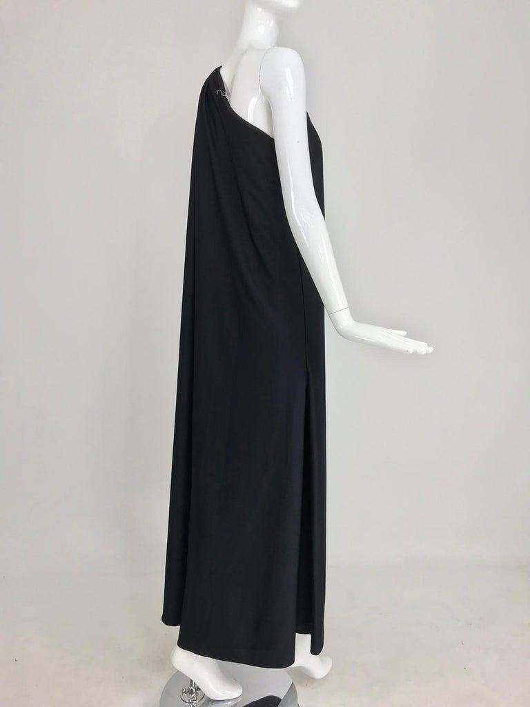 Halston one shoulder black jersey draped maxi dress  For Sale 6