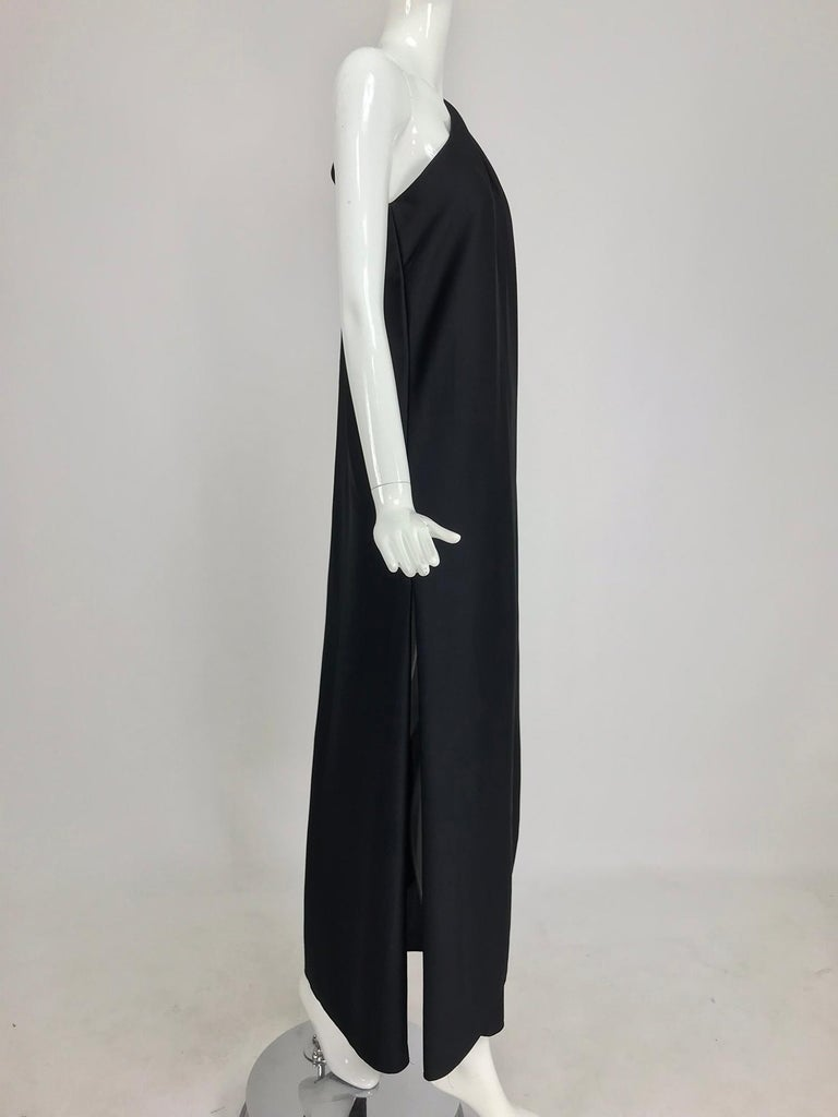 Halston one shoulder black jersey draped maxi dress  For Sale 7
