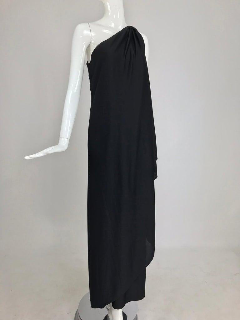 Halston one shoulder black jersey draped maxi dress  For Sale 8