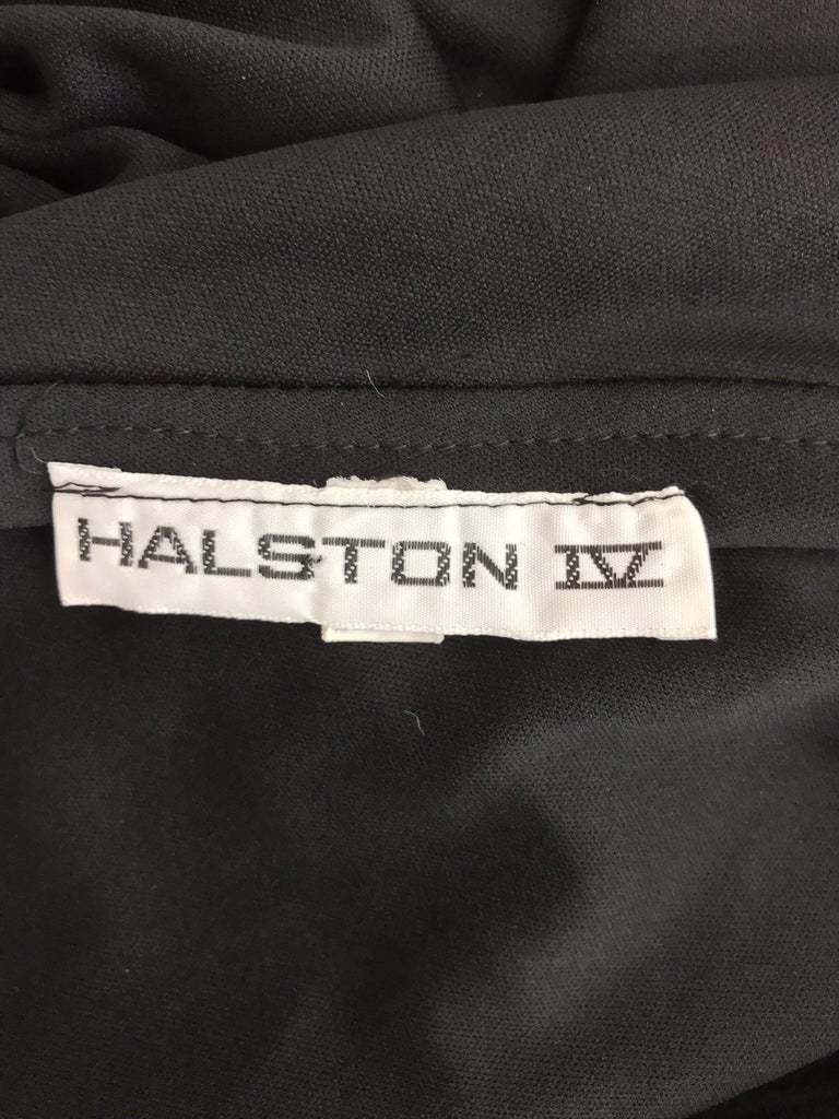 Halston one shoulder black jersey draped maxi dress  For Sale 9