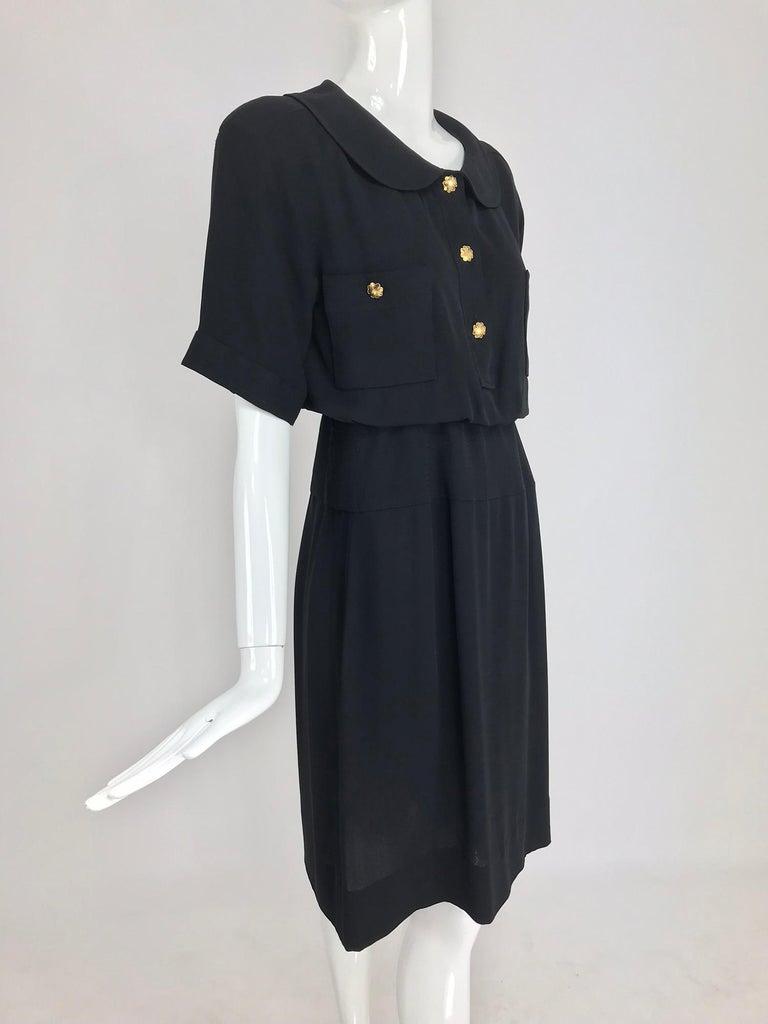 Black Chanel vintage black crepe shirtwaist day dress For Sale