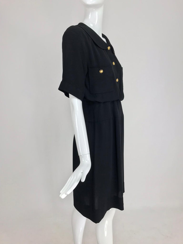 Chanel vintage black crepe shirtwaist day dress In Excellent Condition For Sale In West Palm Beach, FL