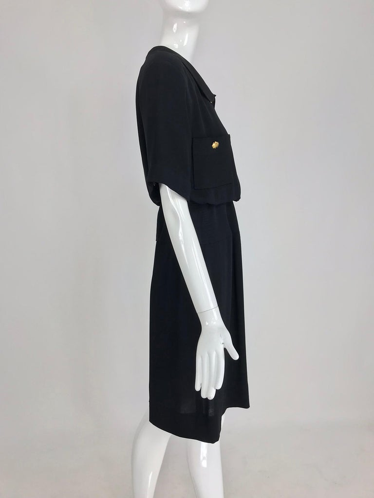 Women's Chanel vintage black crepe shirtwaist day dress For Sale