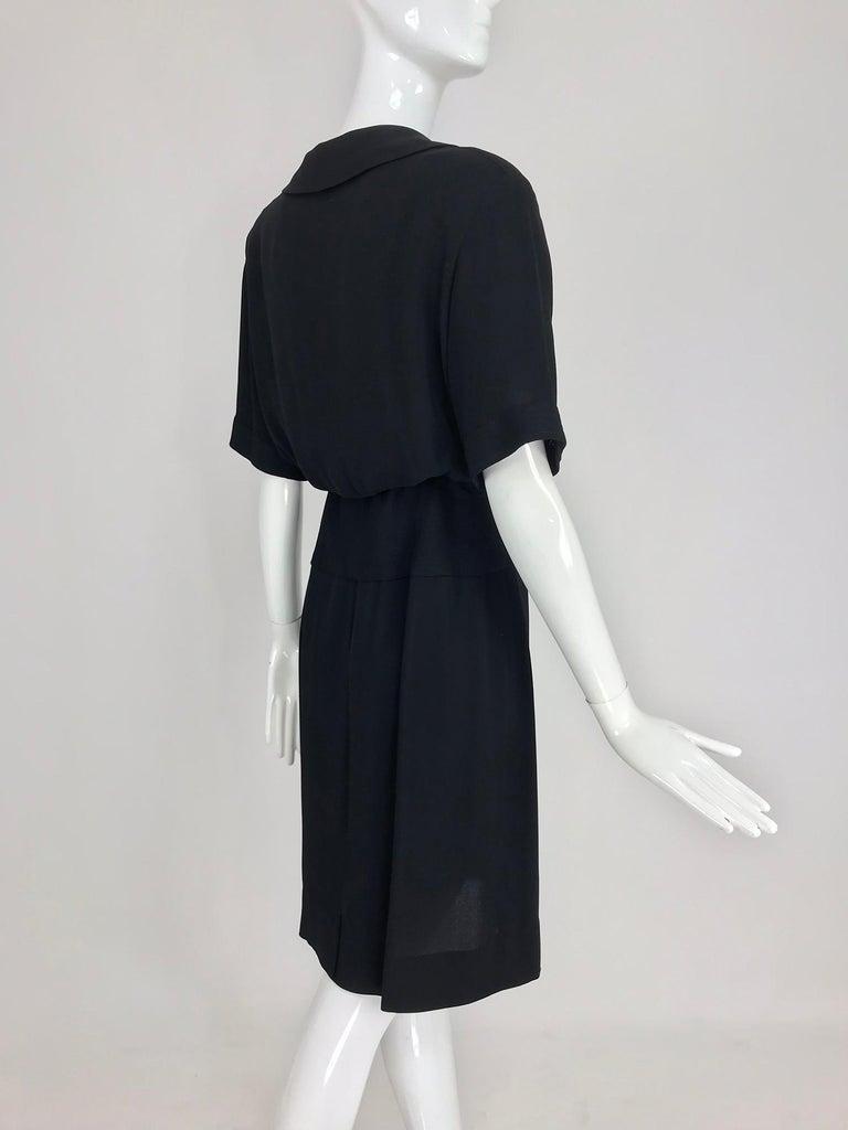 Chanel vintage black crepe shirtwaist day dress For Sale 1