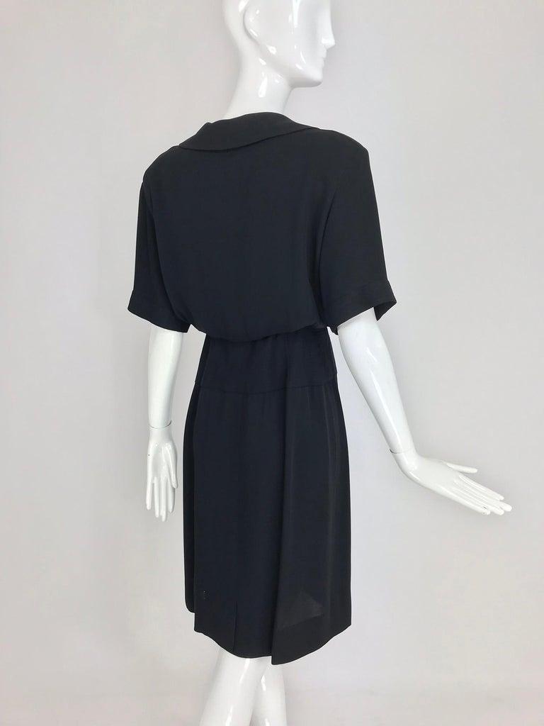 Chanel vintage black crepe shirtwaist day dress For Sale 2