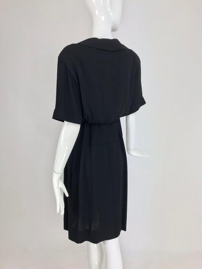 Chanel vintage black crepe shirtwaist day dress For Sale 3