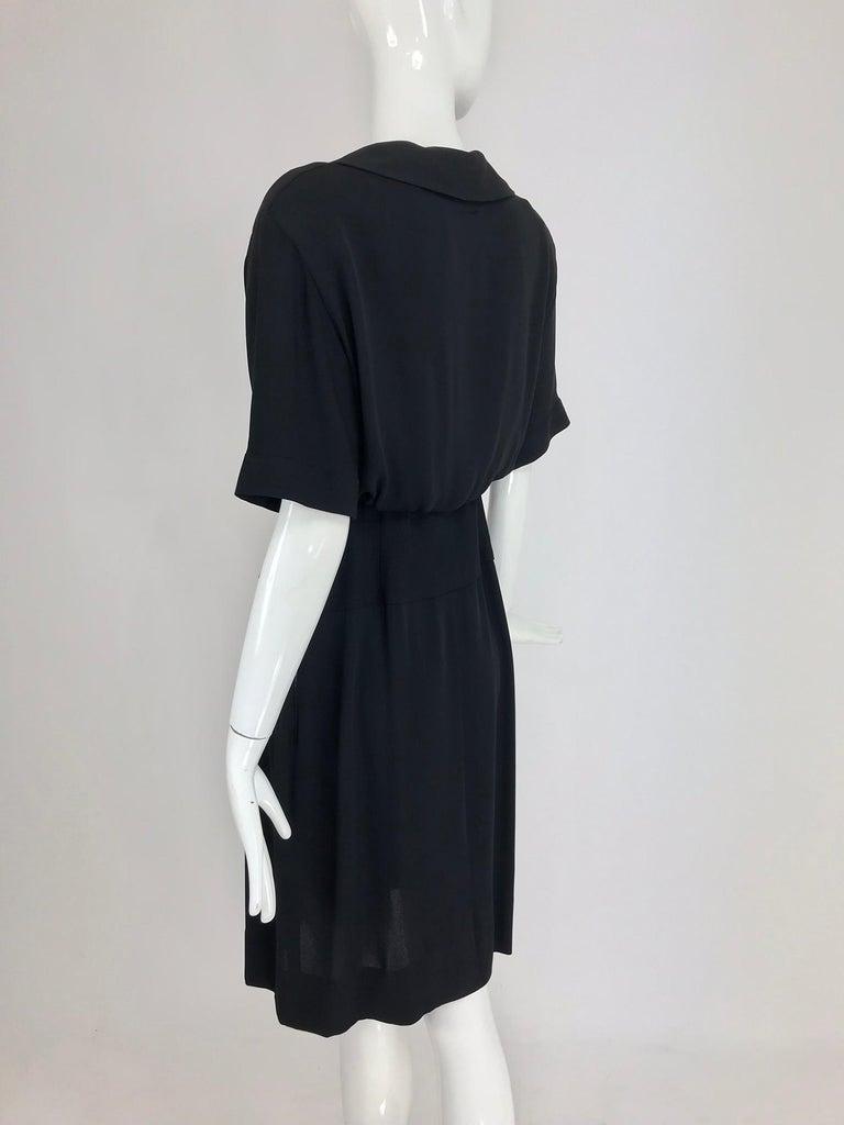 Chanel vintage black crepe shirtwaist day dress For Sale 4