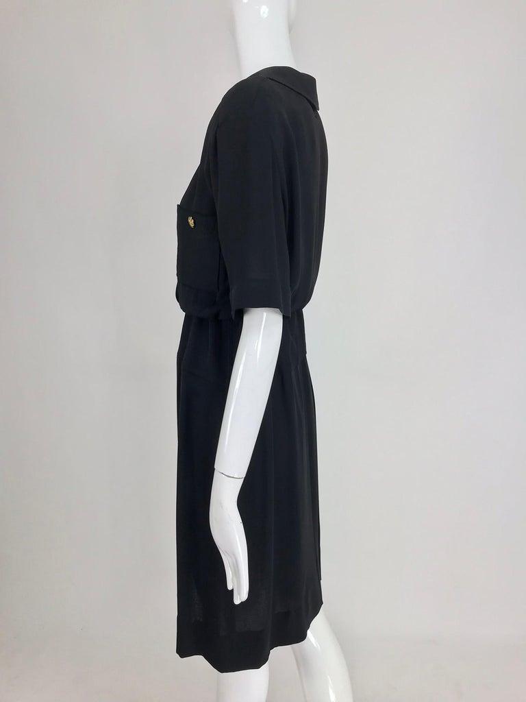 Chanel vintage black crepe shirtwaist day dress For Sale 5
