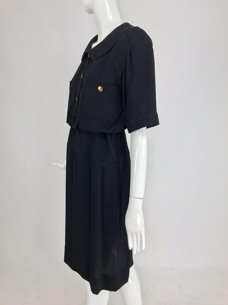 Chanel vintage black crepe shirtwaist day dress For Sale 6