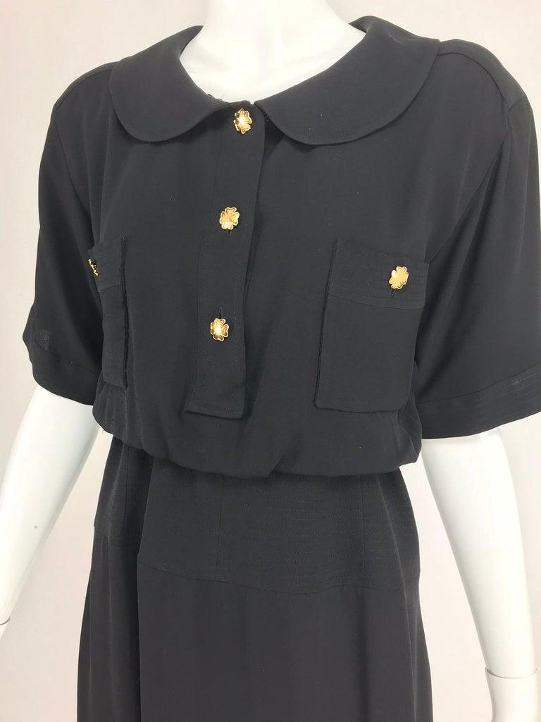 Chanel vintage black crepe shirtwaist day dress For Sale 7