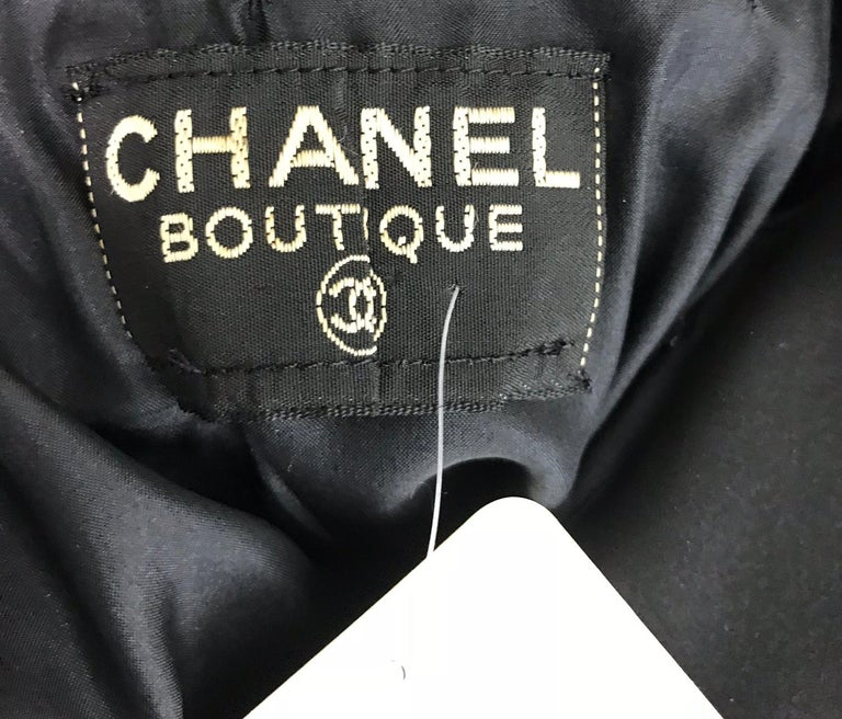 Chanel vintage black crepe shirtwaist day dress For Sale 8