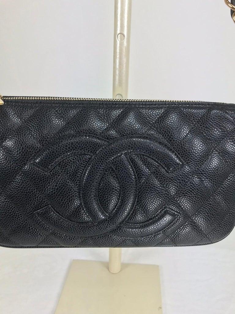 Black Chanel black caviar leather shoulder bag 2004 For Sale