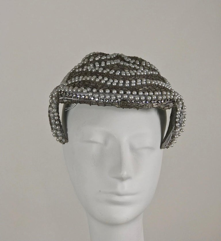 Silver Designed by Lora silver beads and pearl cocktail hat 1950s For Sale