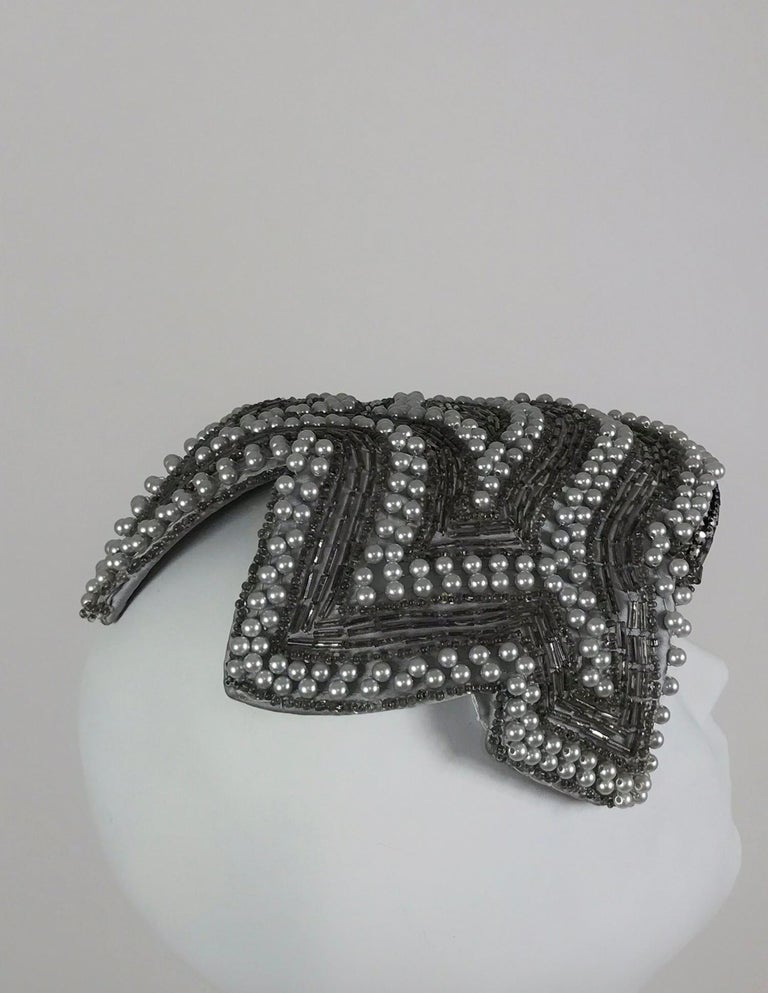 Women's Designed by Lora silver beads and pearl cocktail hat 1950s For Sale