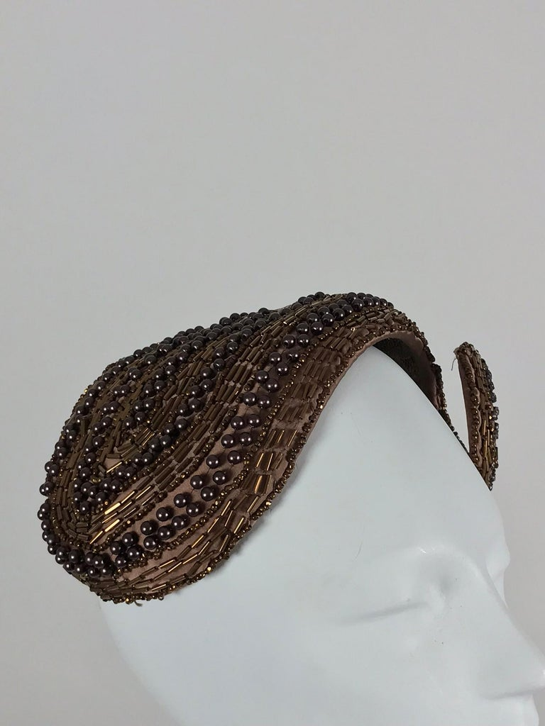 Beige Designed by Lora copper beaded cocktail hat 1950s For Sale