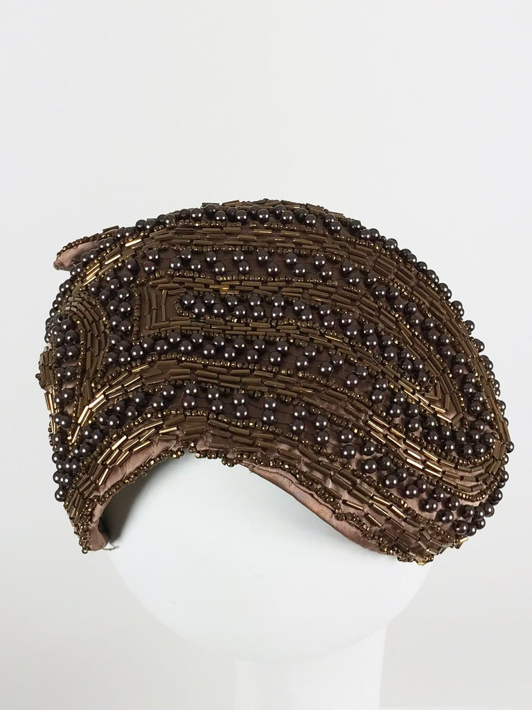 Women's Designed by Lora copper beaded cocktail hat 1950s For Sale
