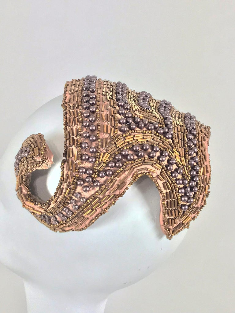Designed by Lora copper beaded cocktail hat 1950s For Sale 1