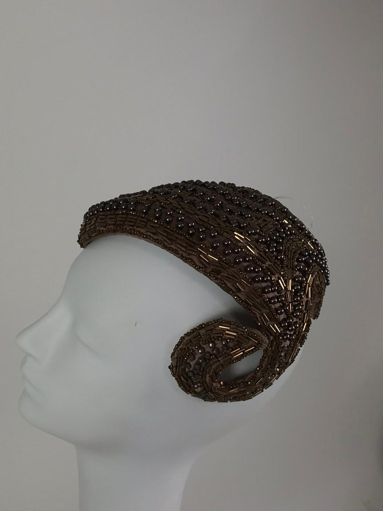 Designed by Lora copper beaded cocktail hat 1950s For Sale 2