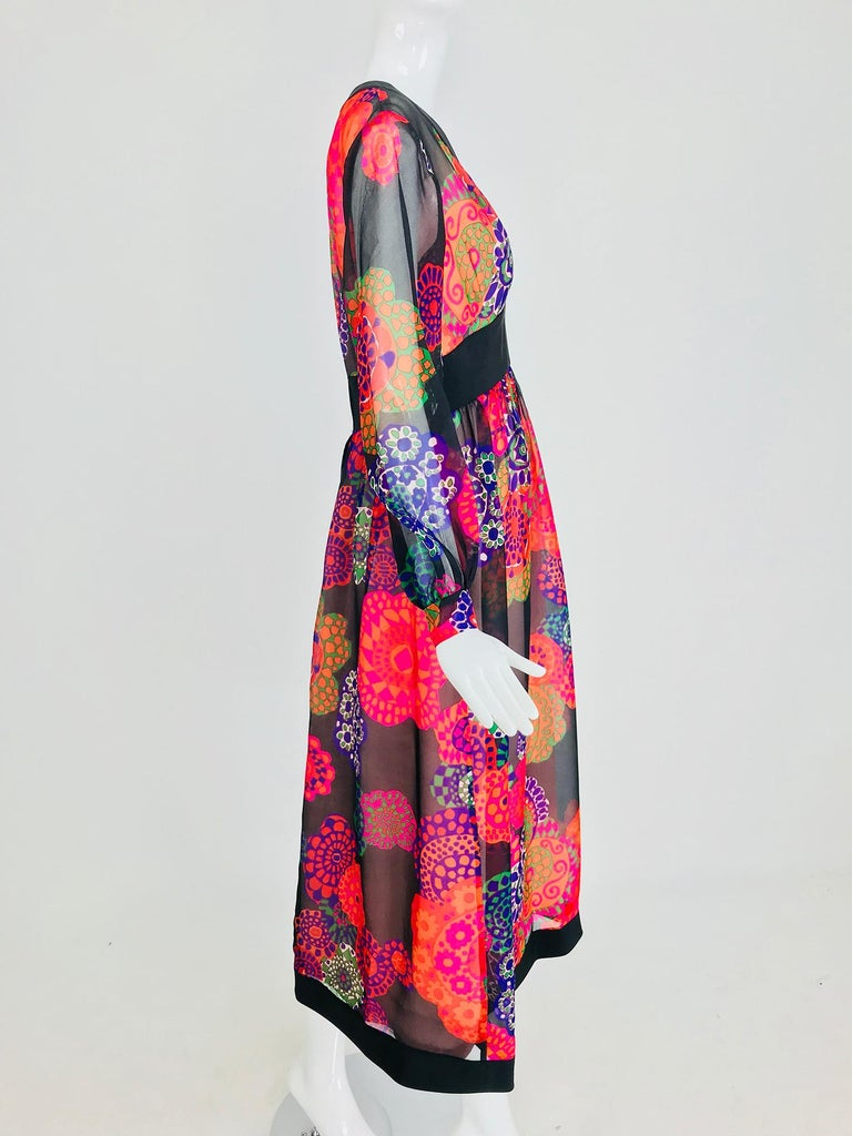 Shannon Rodgers for Jerry Silverman floral silk organza midi dress 1970s In Excellent Condition For Sale In West Palm Beach, FL