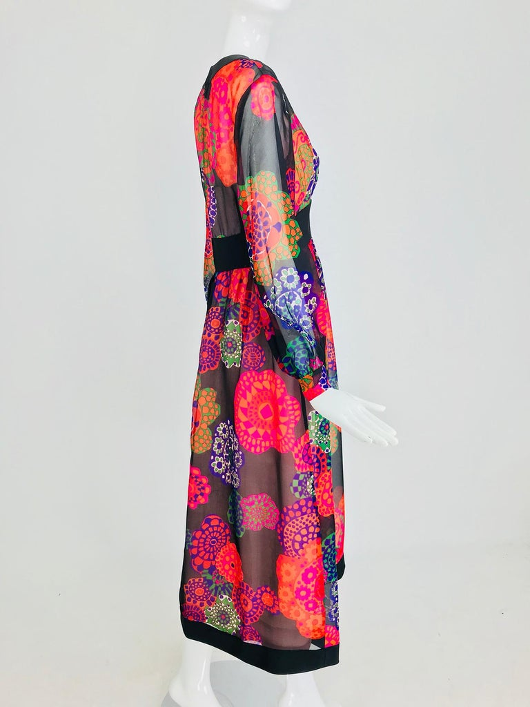Women's Shannon Rodgers for Jerry Silverman floral silk organza midi dress 1970s For Sale