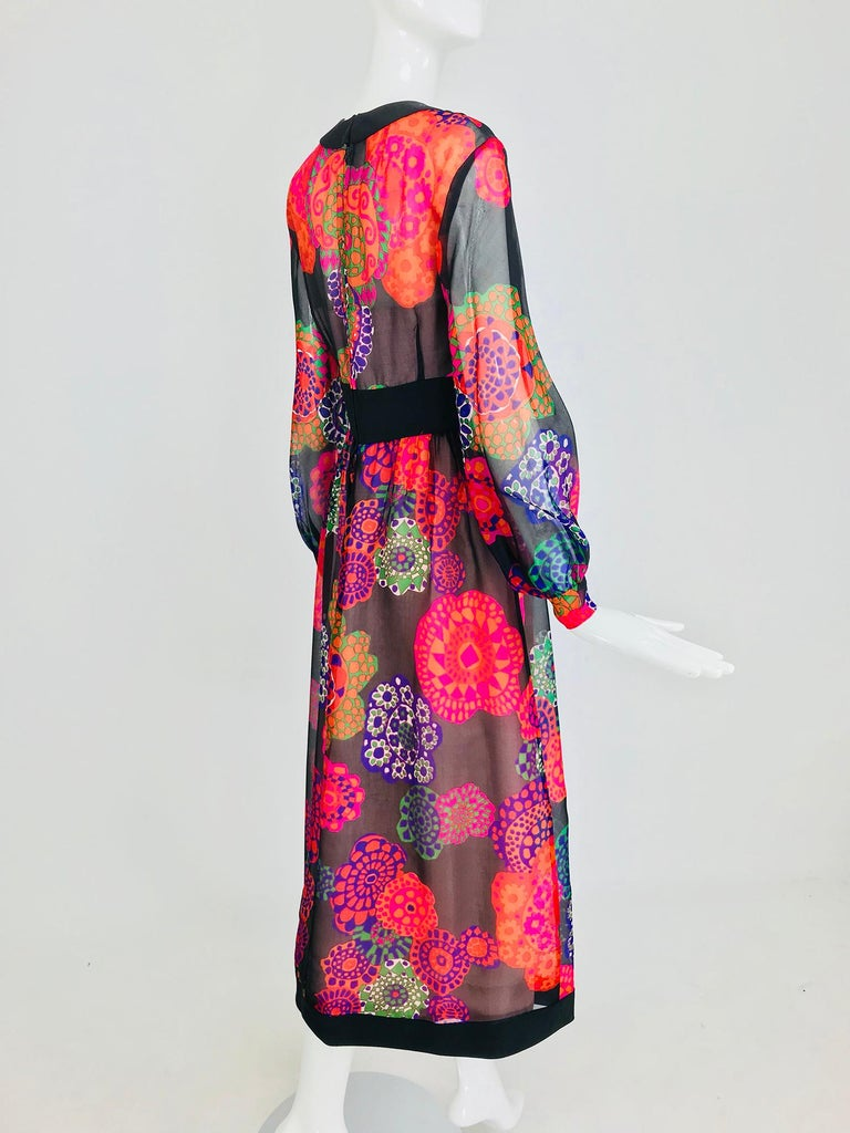 Shannon Rodgers for Jerry Silverman floral silk organza midi dress 1970s For Sale 1