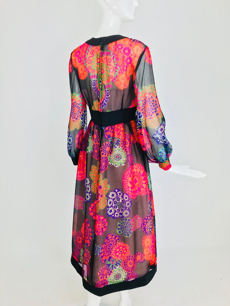 Shannon Rodgers for Jerry Silverman floral silk organza midi dress 1970s For Sale 2