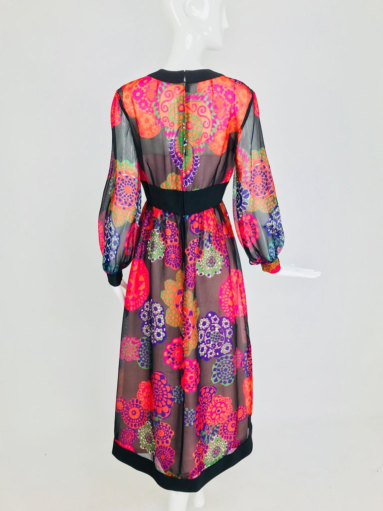 Shannon Rodgers for Jerry Silverman floral silk organza midi dress 1970s For Sale 3