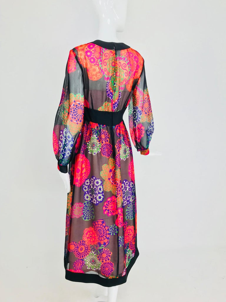 Shannon Rodgers for Jerry Silverman floral silk organza midi dress 1970s For Sale 4