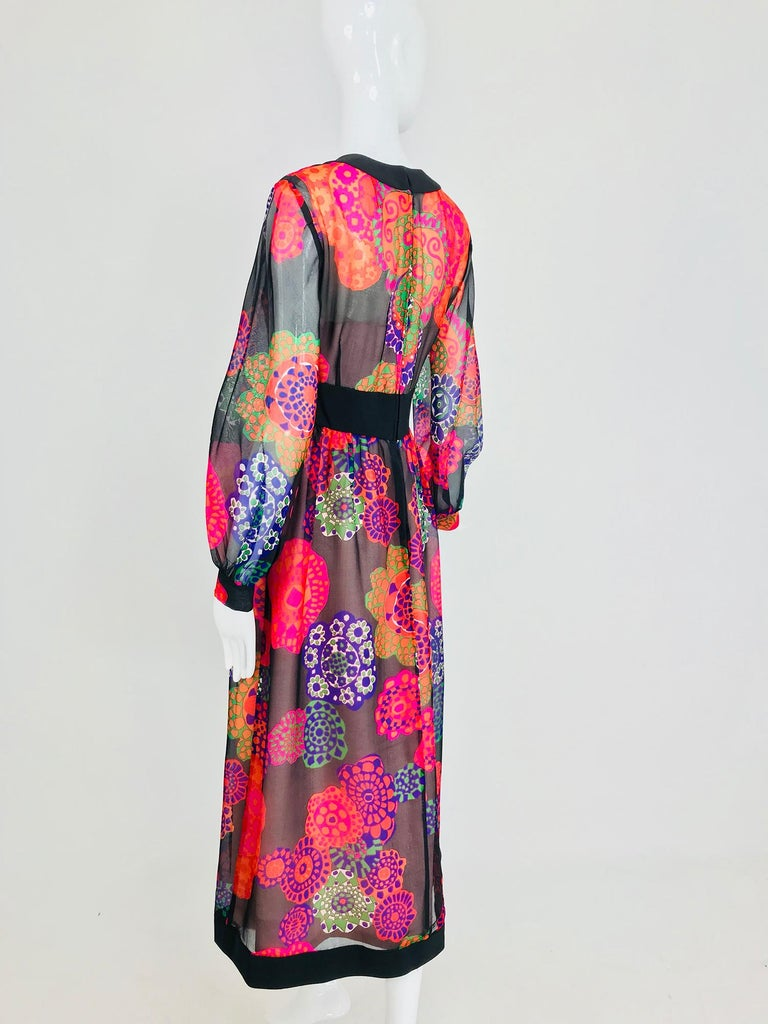 Shannon Rodgers for Jerry Silverman floral silk organza midi dress 1970s For Sale 5