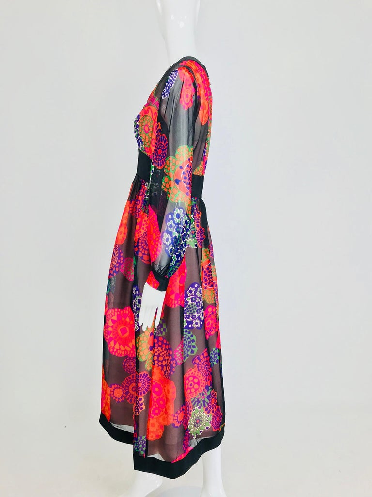 Shannon Rodgers for Jerry Silverman floral silk organza midi dress 1970s For Sale 7
