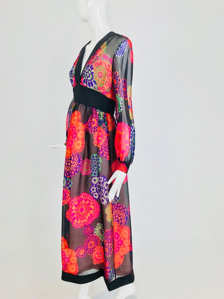 Shannon Rodgers for Jerry Silverman floral silk organza midi dress 1970s For Sale 8