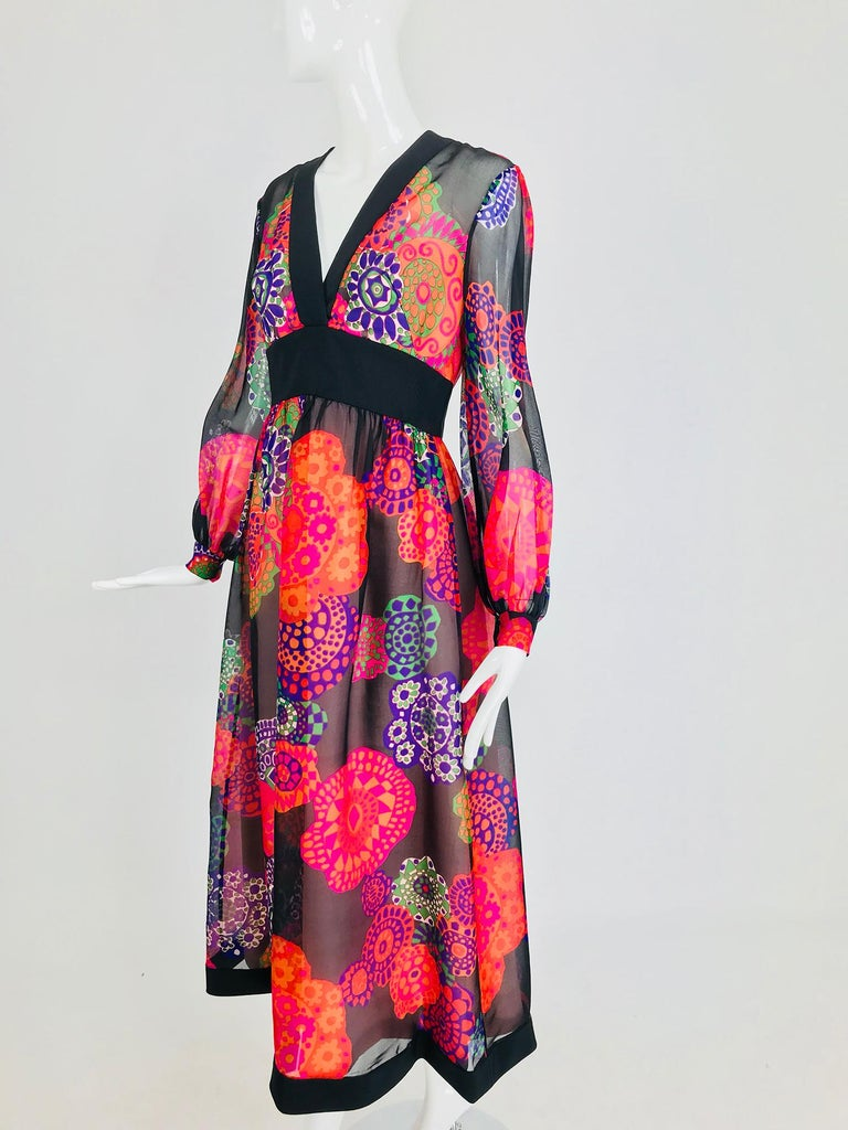 Shannon Rodgers for Jerry Silverman floral silk organza midi dress 1970s For Sale 9