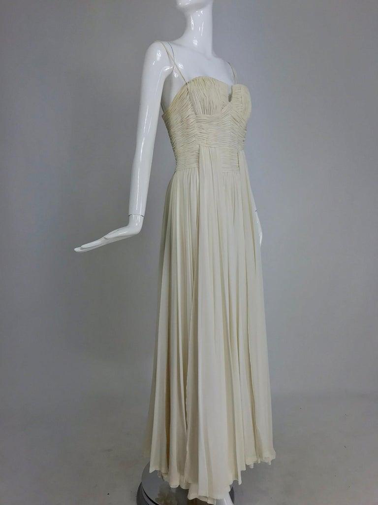 Fernanda Gattinoni Couture Ivory pleated silk chiffon evening gown ...