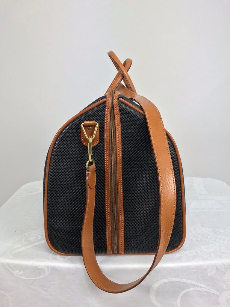 Bottega Veneta Black And Tan Leather Carry On Duffel Bag